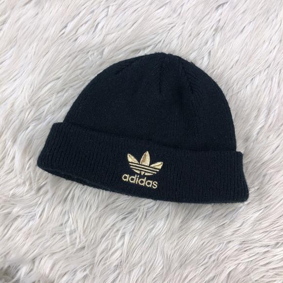 Adidas Men's Black Gold Logo Beanie Hat